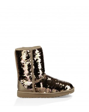 Womens Classic Short Sequin Boot Gold Combo 1094982-GOLD