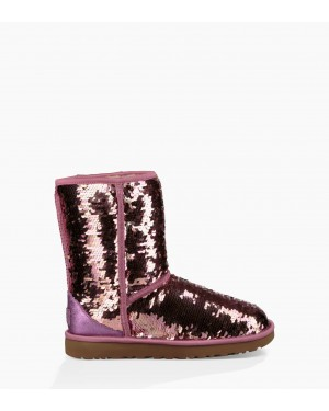 Womens Classic Short Sequin Boot Pink 1094982-PINK